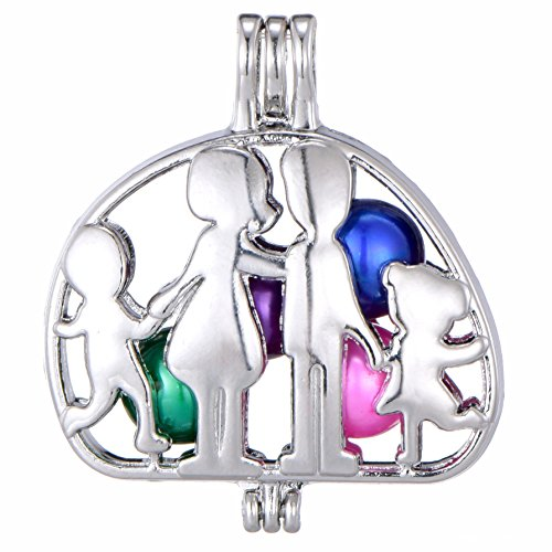 8pcs Family Affection Stainless Steel Tones Alloy Bead Cage Pendant Add Your Own Pearls Stones Perfume Essential Oils to Create a Scent Diffusing Locket Pendant Charms ()