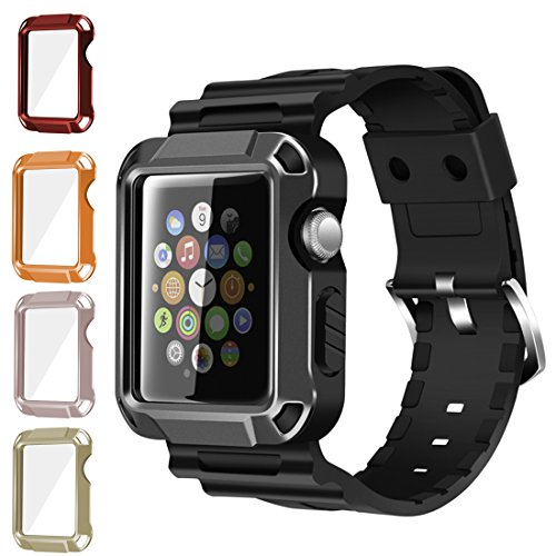 iiteeology Compatible Apple Watch Band, Rugged Protective iWatch Case and Band Strap with Built-in Screen Protector for Apple Watch Series 3/2/1 (5 in 1 Kit, 42mm)