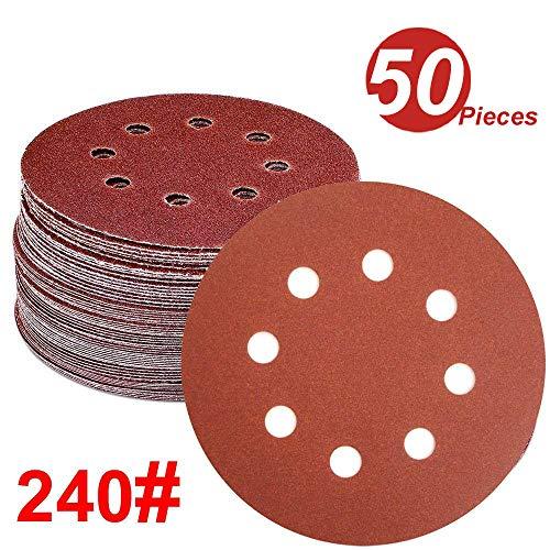 WINGONEER 50PCS Sanding Discs Pads, 5-Inch 8-Hole 240-Grit Hook and Loop Aluminium Oxide Sandpaper for Random Orbital Sander