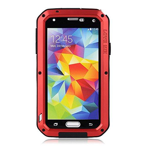 Lentenda Waterproof Shockproof Aluminum Gorilla Metal Cover Case for Galaxy S5 Love Mei (red)