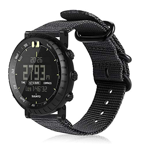 Fintie for Suunto Core Watch Band, Premium Woven Nylon Bands Adjustable Replacement Sport Strap with Metal Buckle for Suunto Core Watch Band Smart Watch, Black