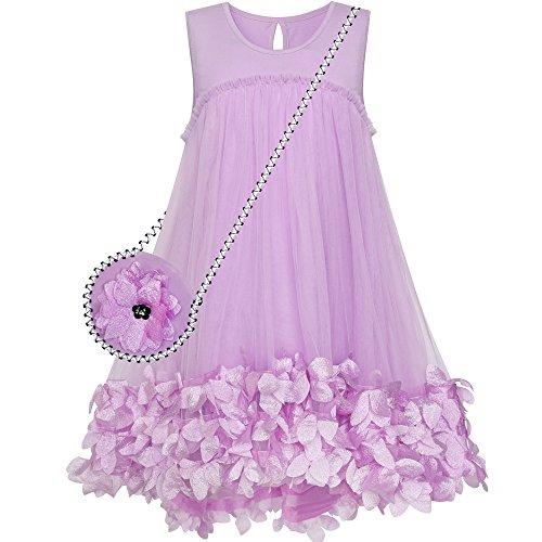 Handbag line 10 A Sundress Size Cute 5 White Princess Years Purple Dress Girls wxqZ6