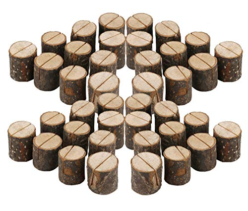 ECHI Wedding Table Card Holder, Real Wooden Base Photo Holder - Suit Photo,Picture,Memo,Card,Business Card Clip (Style2-40PCS) by ECHI
