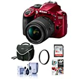 Nikon D3400 DX-Format DSLR Camera Body with AF-P DX NIKKOR 18-55mm F/3.5-5.6G VR Lens, Red - Bundle with 16GB SDHC Card, Camera Bag, 55mm UV Filter, Cleaning Kit, Software Package