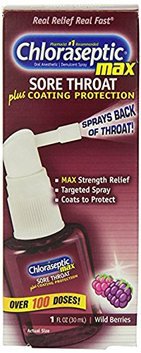 Phenol Sore Throat (CHLORASEPTIC MAX SPRAY Sore Throat Relief Wild Berries 1 oz)