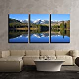 "wall26 - 3 Piece Canvas Wall Art - Otis, Hallett and Flattop Mountains Seen from Sprague Lake in Rocky Mountain - Modern Home Decor Stretched and Framed Ready to Hang - 16""x24""x3 Panels"