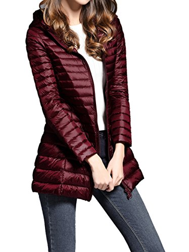 QYQS Women's Ultra Light Packable Hooded Down Coat Outdoor Long Jacket Wine Red US L(Asian 3XL)