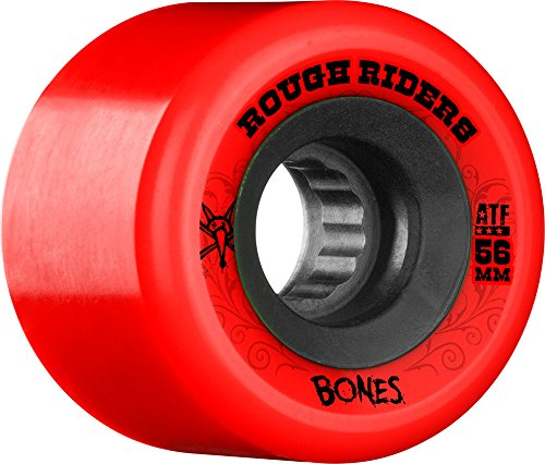 Bones Wheels Rough Riders 80a Skateboard Wheels, Red, 56mm - 80a Red Skate Wheels