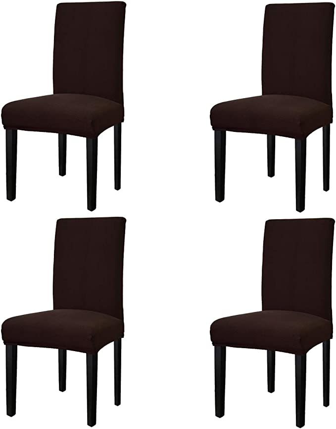 Easy-Going Stretch Dining Room Chair Slipcovers Persons Chair Protector Removable Washable Short Soft Home Décor (M4 Pieces, Waffle Pique, Chocolate)
