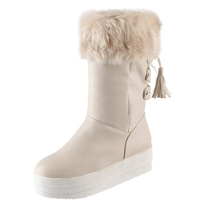 ZODOF Botas de Mujer Botas Medias de Mujer de Moda con Cordones Flecos talón Plano Zapatos de Nieve de Invierno: Amazon.es: Ropa y accesorios