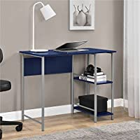 Mainstays Basic Student Desk Features Side Shelving Storage, Navy