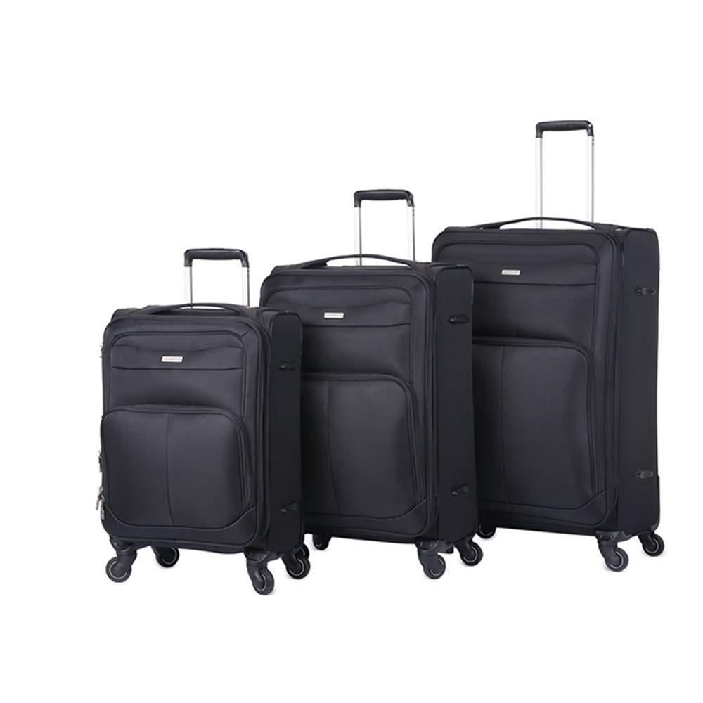 旅行用品荷物スーツケーストロリーケース プレミアム回転3ピース20インチ24インチ28インチ荷物入れ子セットTSAロック付きオックスフォード生地持ち運び可能な拡張可能なアップライトスーツケースソフトシェル軽量360°サイレントスピナー多方向ホイール(旅行用)飛行機のフライトとチェックイン (色 : ブラック, サイズ : 20in+24in+28in) B07SNRJRFT ブラック 20in+24in+28in