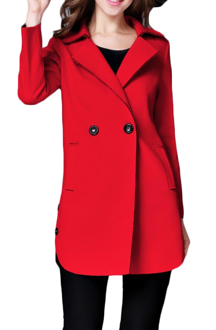 S-Fly Womens Solid Lapel Slim Fit Faux Suede Stylish Jacket Trench Coat