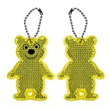 Lantra Besa Children Kids Reflective Keyrings 2Pcs Bears for Backpack School Bags Biking Cycling Running Walking Sport and Outdoor Safety Accessories High Visibility - Yellow
