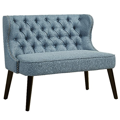 Banquette Bench Entryway Dining Breakfast Entrance For Office Benches Living Room Settee Furniture Elegance Seating Art Seat With Back Upholstered Linen Light Blue Leg Material Wood La Banque Retro (Seating Dining Banquette)