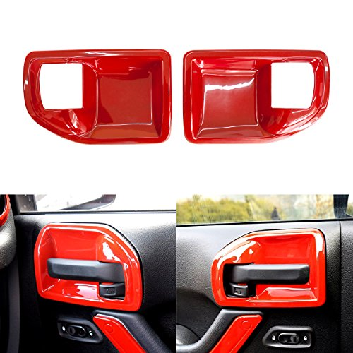 ICARS Red Interior Inner ABS Door Latch Handle Bowl Cover Trim Guard Accessories for 2011 2012 2014 2013 2014 2015 2016 2017 Jeep Wrangler JK & Unlimited 4 (Inner Door Handle Cap)