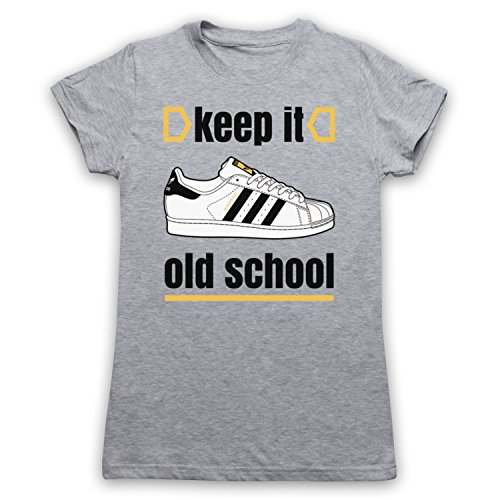 Keep It Old School Retro Superstar Slogan Camiseta para Mujer Gris Claro