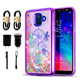 Compatible with Samsung Galaxy A6 2018, Glitter Liquid Quicksand Flowing Sparkle Case for Samsung Galaxy A6 2018 [Value Bundle] (Purple)