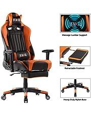 Chaise de Jeu d'ordinateur Grande Taille Ergomonic Racing Chair avec Repose-Pieds rétractable, PU Masseur Lombaire en Cuir Chaise Pivotante Ergonomique pour Ordinateur pour la Maison