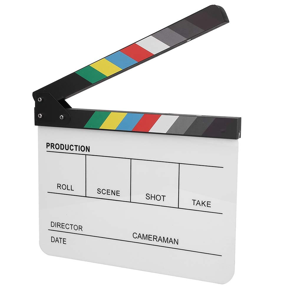 Clapperboard, Acrylic Plastic Colorful Director Scene Clapboard, TV/Movie Action Film Cut Prop with White/Black Sticks for Shoot Props/Advertisement (Color/White) by Tangxi
