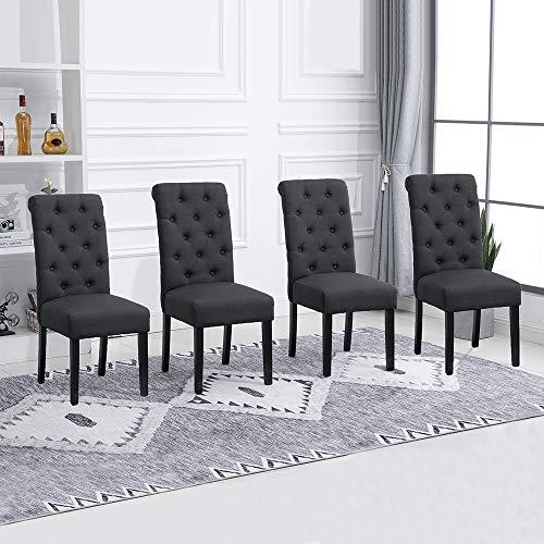 Huisenus Set of 4 Dining Chair Upholstered Fabric Padding Dining Chair Button for Dining Room Restaurant Wedding Reception(Charcoal, Set of 4)