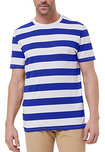 PAUL JONES Blue and White Striped Casual Tee for Men Short Sleeve Crew Neck