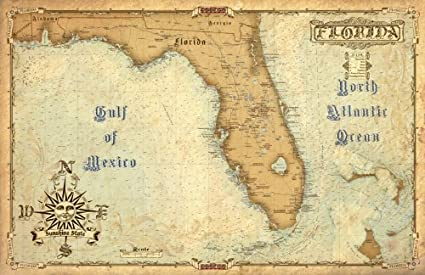 Florida Map Of Florida.Waterproof Charts 01s Vintage Style Florida Map