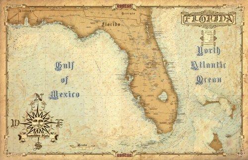 Waterproof Charts, 01S Vintage Style Florida (Vintage Road Map)