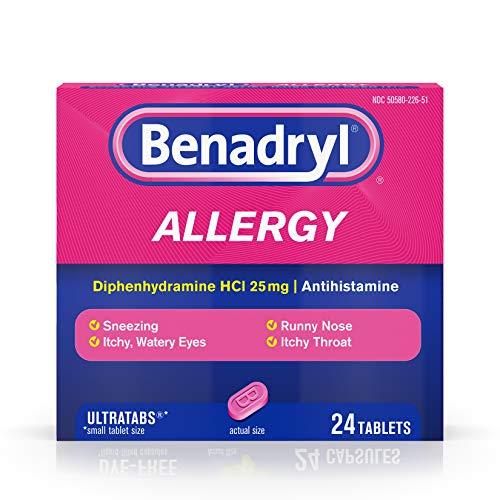 Benadryl Ultratabs Antihistamine Allergy Relief with Diphenhydramine HCl 25 mg, 24 ct