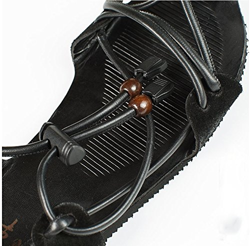 Chinese Vintage Style Leather Sandals Drawstring Adjustable Beach Shoes