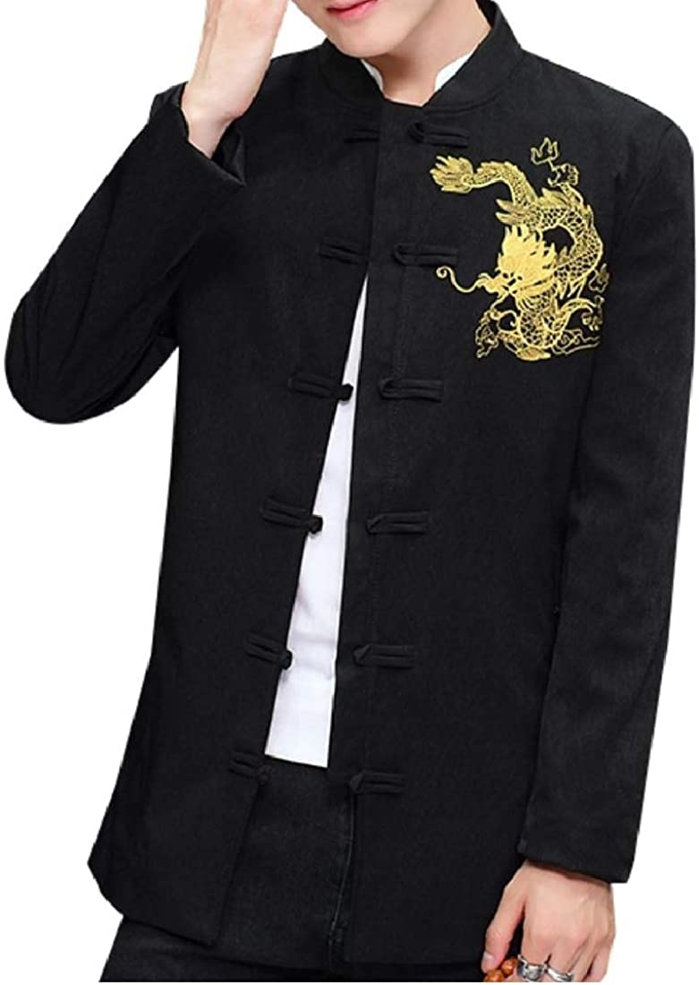 Aooword Mens Outwear Buckle Chinese Style Embroidery Simple Trench Coat