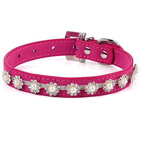 Leather Rhinestone Dog Collar - Beirui Rhinestone Dog Puppy Cat Collars Suede Leather Collar for Small Dogs Red Black Blue Hot Pink Color Available (11-13 inches, Rose)