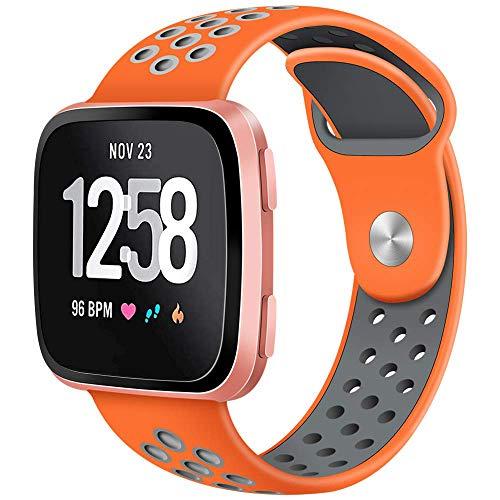 CAVN Compatible Fitbit Versa Bands for Men Women, Sweat Resistant Replacement Accessory Strap Bracelet Compatible Fitbit Versa Smartwtach (1 Pack/L-6.8-8.9, Orange/Grey)