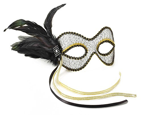 Forum Novelties Women's Lace Feather Venetian Eye Mask, Black/Gold, One Size