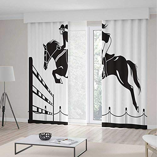iPrint Cartoon Room Decor Curtains,Racing Horse a Jockey Girl Jumping Above Barrier Barn Farming Image Print,Living Room Bedroom Curtain 2 Panels Set,104 W 63 L,Black White -