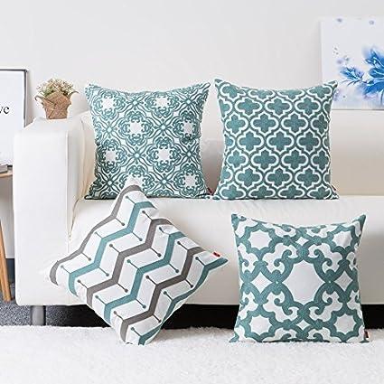 Baibu Cotton Teal Embroidery Pattern Decor Throw Pillow Case