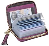 Easyoulife Genuine Leather Credit Card Holder Zipper Wallet With 26 Card Slots (Purple with Metal Zipper)