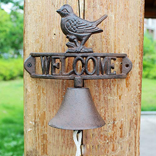 - CKH Nordic Country Retro Welcome to Double-Sided Listing Doorbell Welcome Cast Iron Wrought Iron Doorbell Hand-cranked Bird Bell