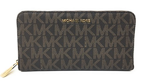 Michael Kors Jet Set Travel Zip Around Travel Wallet (Brown / (Jet Set Monogram)