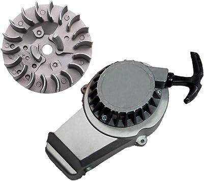 GOOFIT Alloy Pull Start Recoil Starter with Flywheel for 47cc 49cc Pocket Dirt Bike Mini ATV