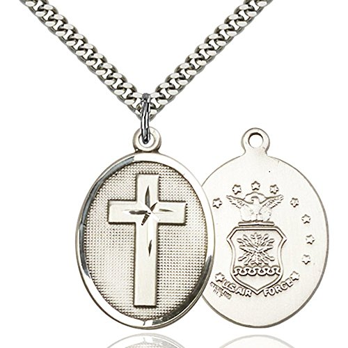 Sterling Silver Cross / Air Force Pendant 1 x 3/4 inches with Heavy Curb Chain by Unknown