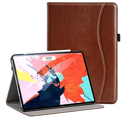 (Ztotop for iPad Pro 12.9 Case 2018, Leather Folio Stand Case Front Smart Cover and Hard Back Shell for 2018 iPad Pro 12.9-inch 3rd Generation (Latest Model) with Auto Sleep/Wake - Brown)