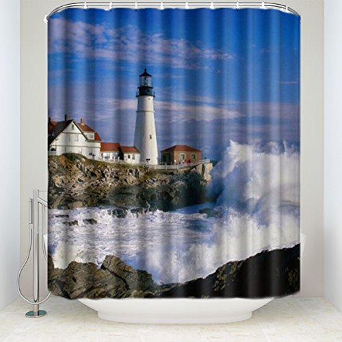 CHARMHOME Lighthouse Beautiful City and Town Scenery Sea Wave White Cloud Waterproof Fabric Bath Shower Curtain 66x72 Inch