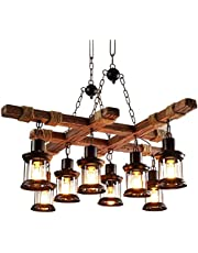 Retro Hanglamp Industriele Hanglamp Steampunk Houten Lampen Plafondlamp Industriële Vintage 8 Lichten, Loft Bar Eetkamer Landhuis Kroonluchter Antieke Metalen Glas Hout Decoratieve Hanglamp