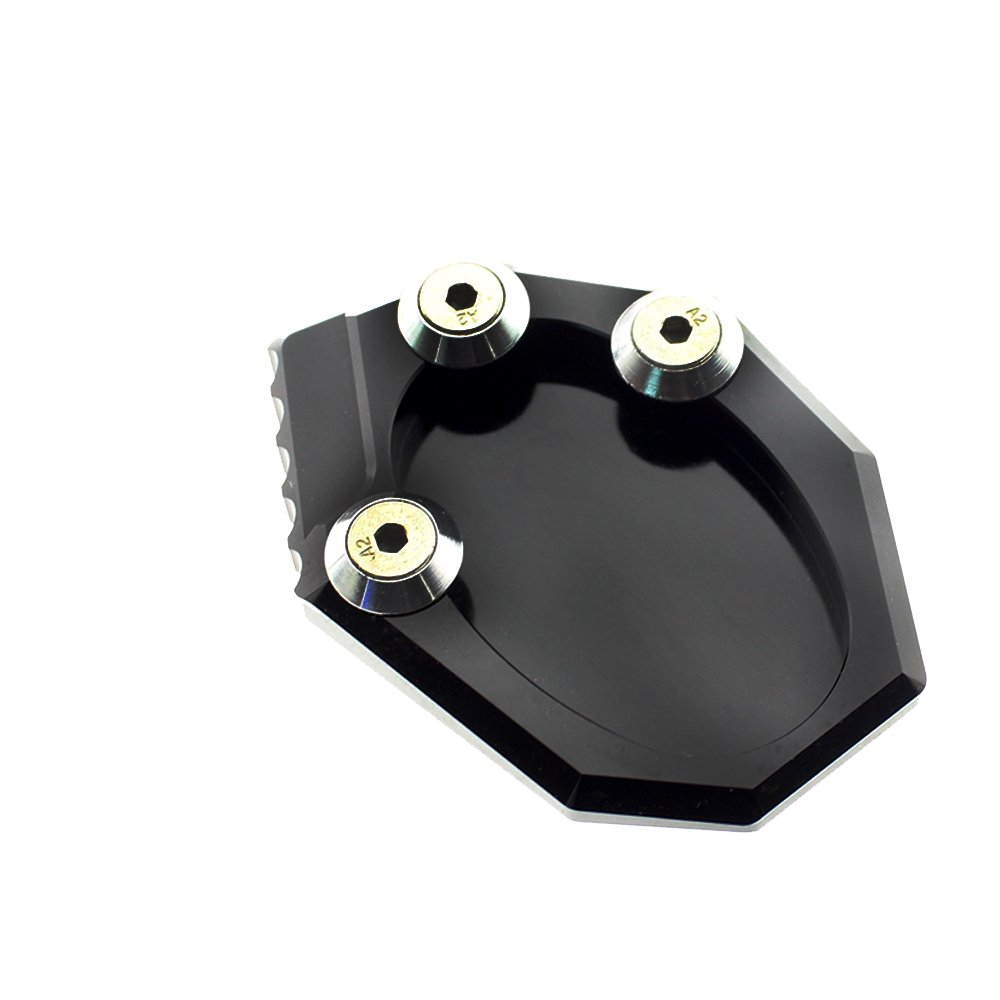 color tree Racing Motorcycle Kickstand Sidestand Extension Enlarge Plate Pad fit for KAWASAKI VERSYS 650 KLX250 All Years Aluminum Black