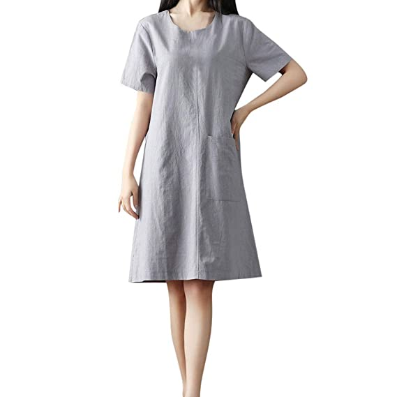 481df2c7 Amazon.com: Plus Size Shirt Dresses for Women Women Short Sleeve Round Neck  Solid Color Casual Wear Plus Size Summer Dress,2019: Cell Phones &  Accessories