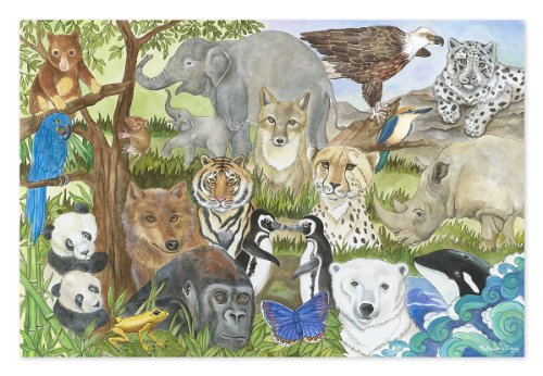 Melissa & Doug Endangered Species Floor Puzzle (Easy-Clean Surface, Promotes Hand-Eye Coordination, 48 Pieces, 24