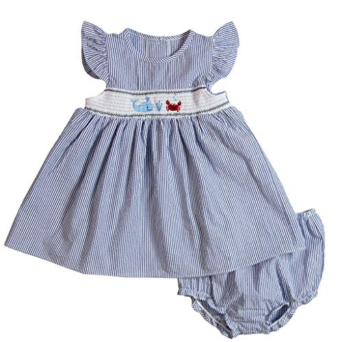 Good Lad Baby Girls Crab Embroidered Smocked Dress, Navy, - Smocked Bubble