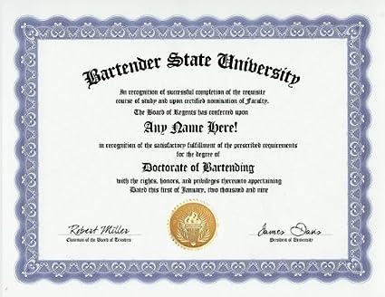 Amazon.com: Bartender Bartend Bartending Degree: Custom Gag Diploma ...