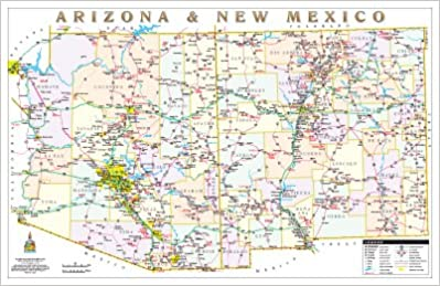 Map Of Arizona To Mexico.Arizona New Mexico Political Highways Desk Map Gloss Laminated